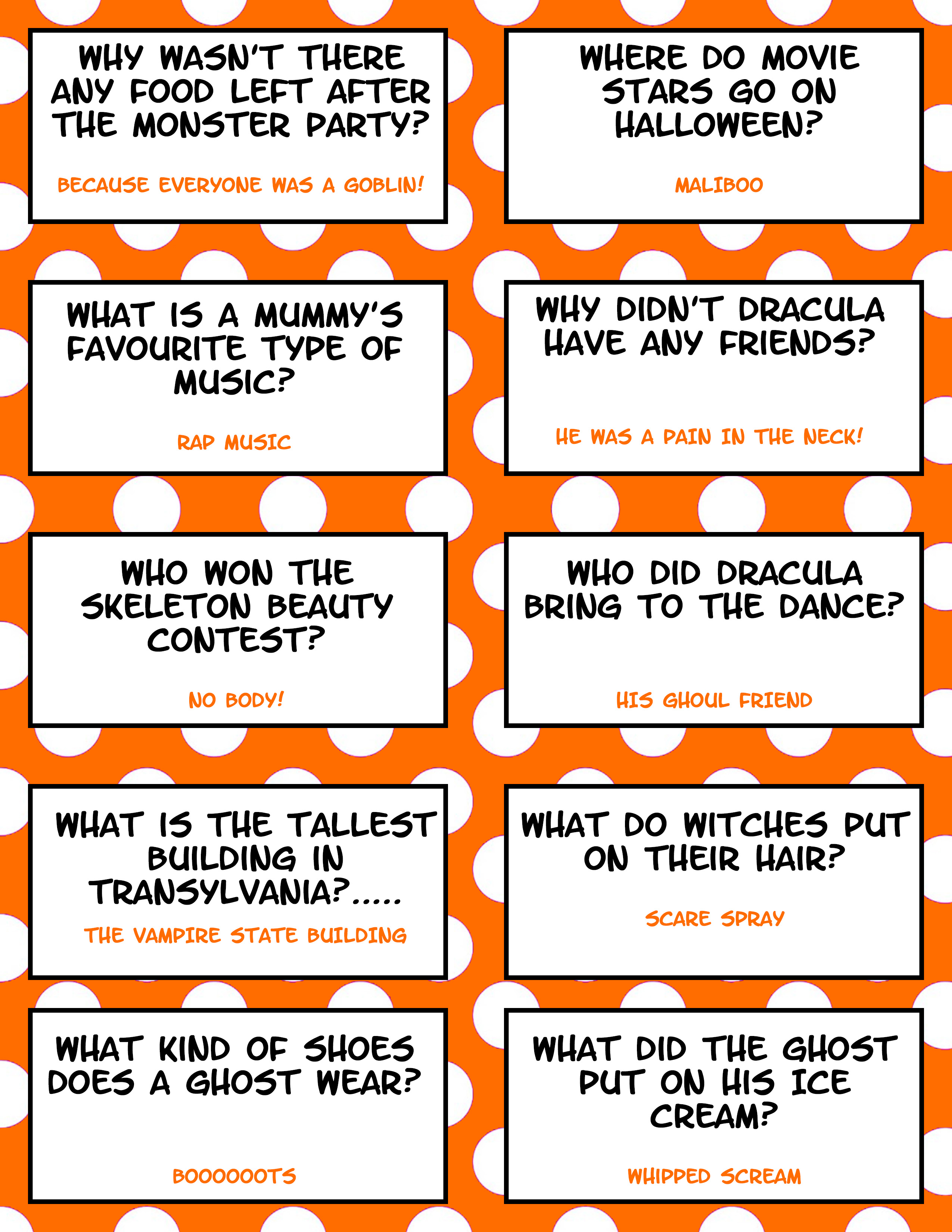 graphic regarding Printable Jokes for Kids identified as No cost Printable Halloween Jokes For Children Halloween Lunch